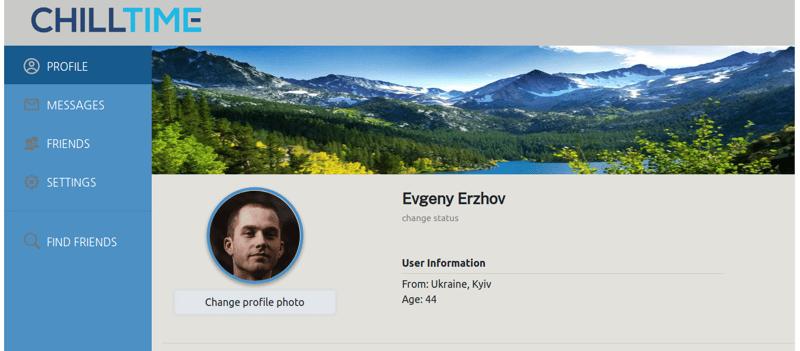 Chilltime - a social network – work in freelancer's portfolio