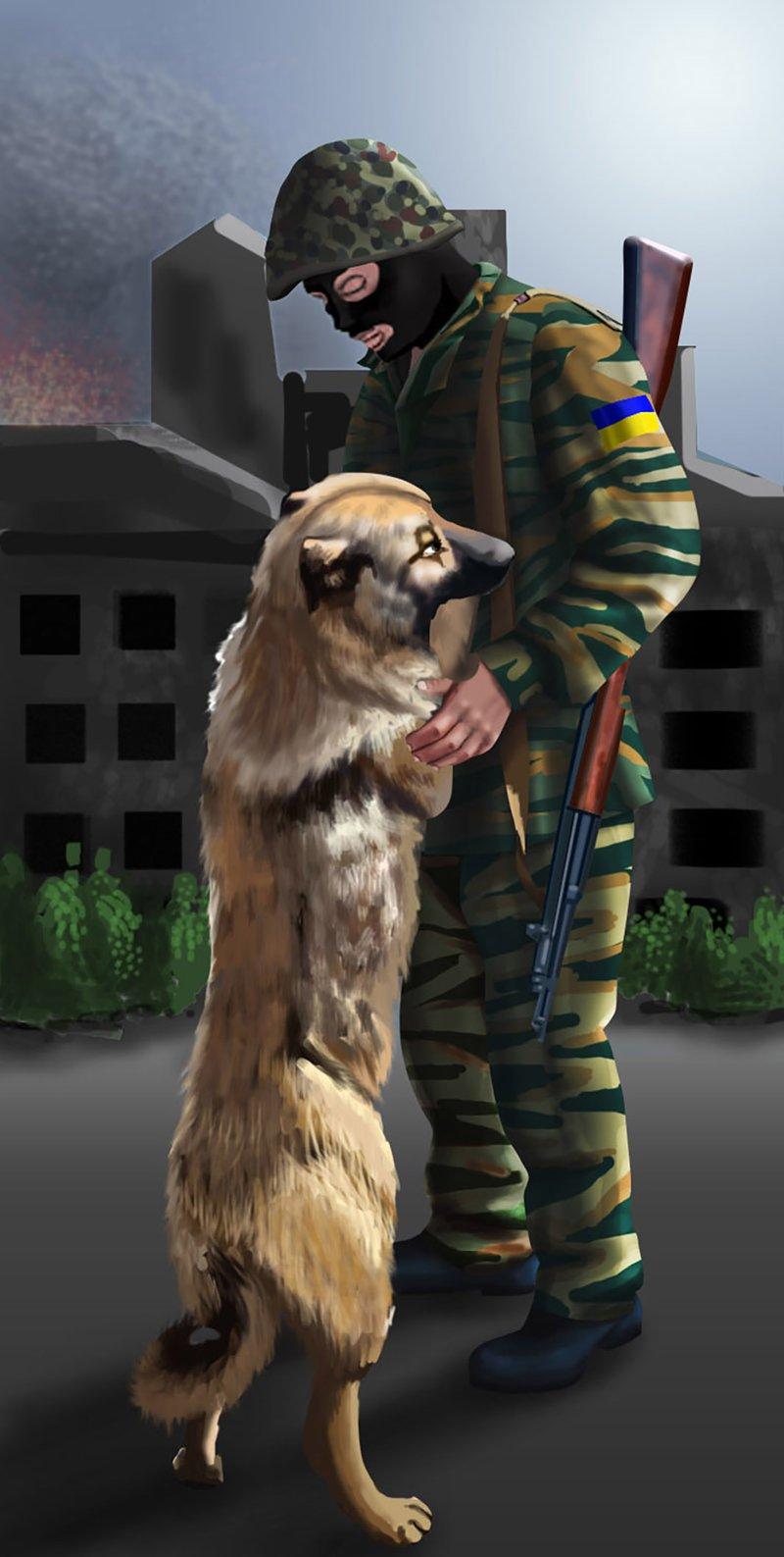 Солдат и собака – работа в портфолио фрилансера