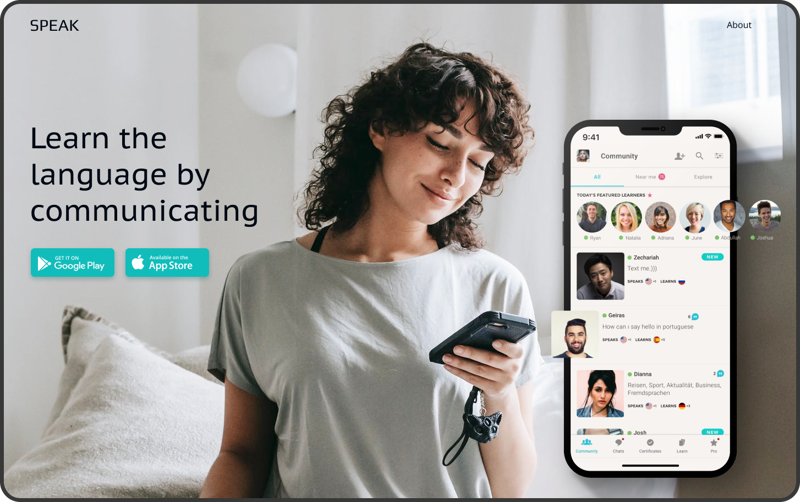 Website for a mobile app – work in freelancer's portfolio