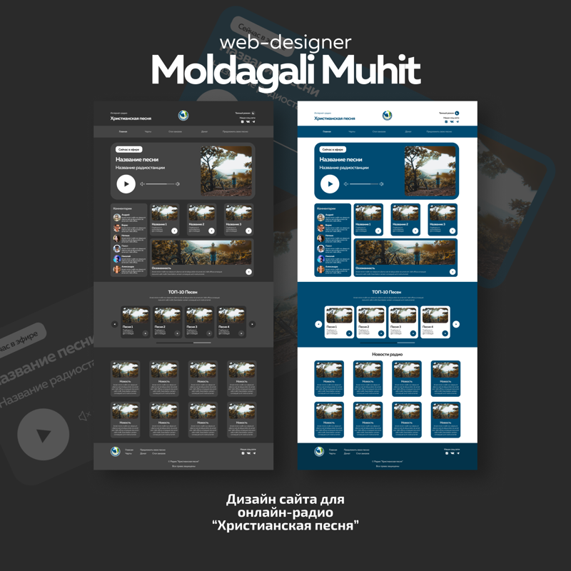 Дизайн сайта для онлайн-радио – работа в портфолио фрилансера