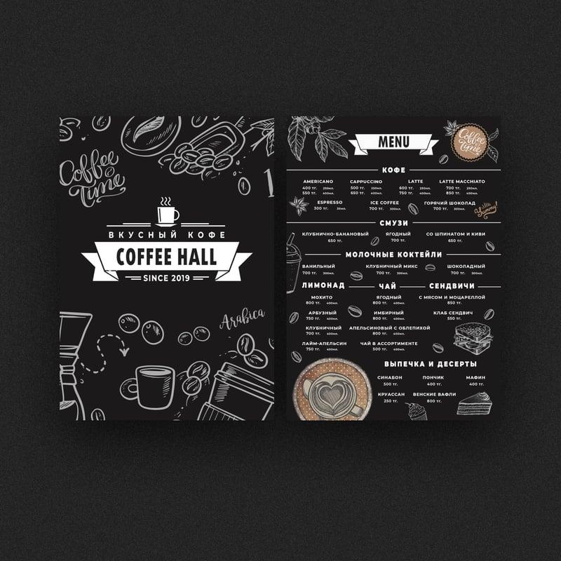 Меню для кофейни – работа в портфолио фрилансера