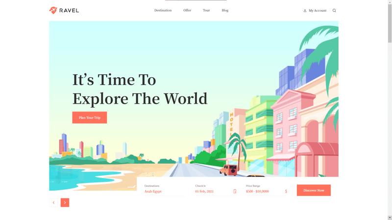 Travel - лендинг на тему путешествий – work in freelancer's portfolio