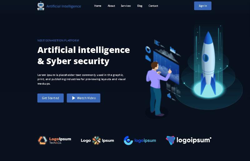 Вёрстка сайта Artificial intelligence – работа в портфолио фрилансера