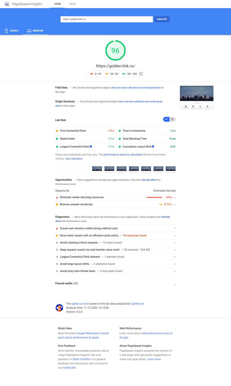 Оптимизация сайта Golden-link – работа в портфолио фрилансера