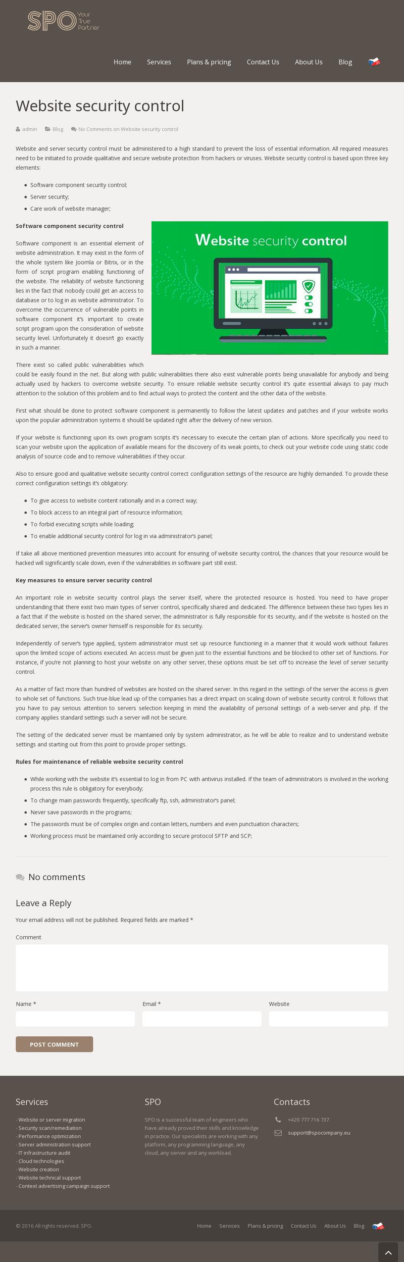 Website security control – work in freelancer's portfolio