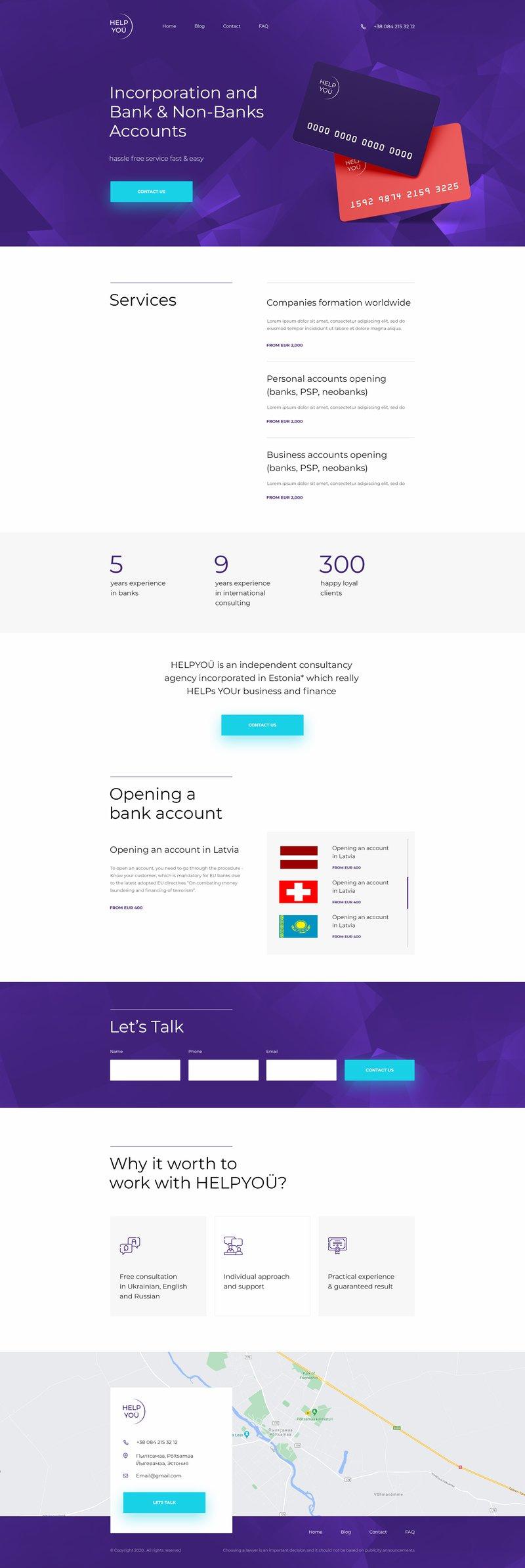 Дизайн сайта для Help you – работа в портфолио фрилансера