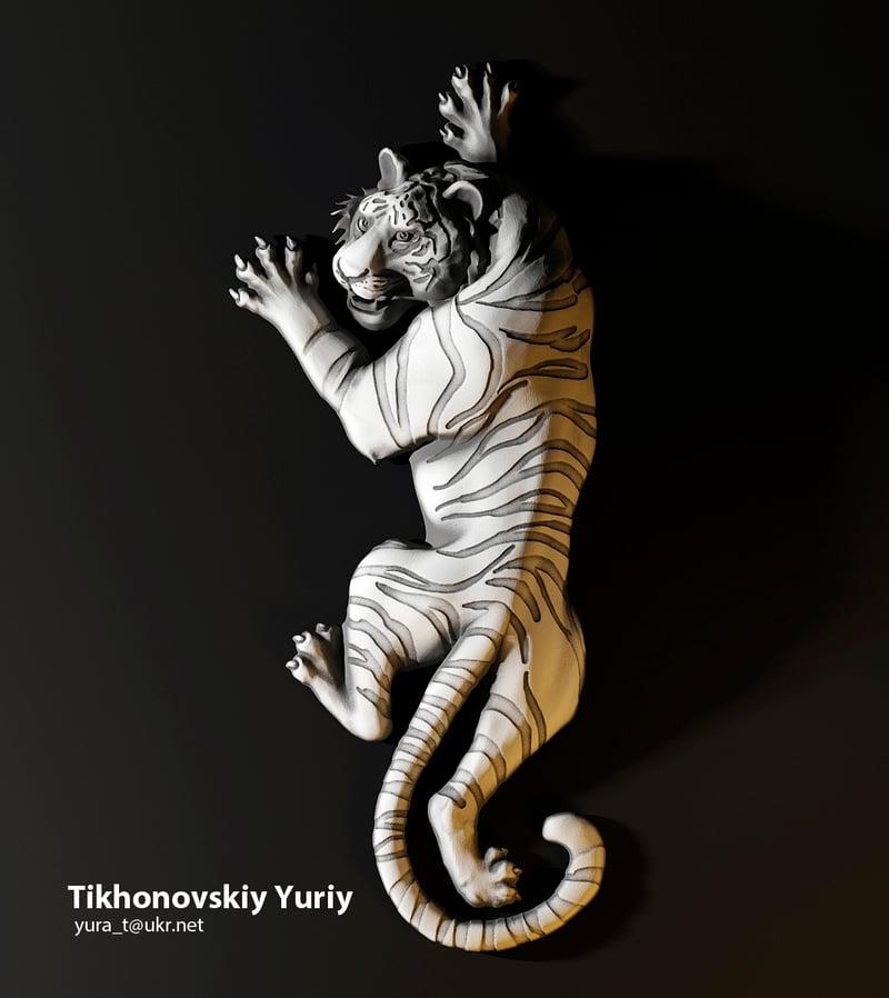 Барельеф тигра, для ювилирки – work in freelancer's portfolio