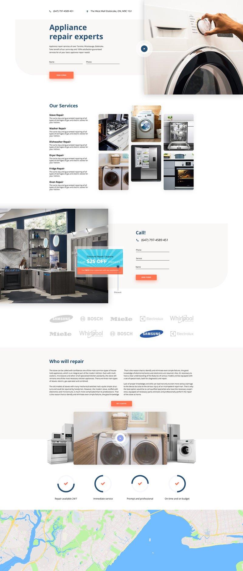 Макет сайта Appliance – работа в портфолио фрилансера