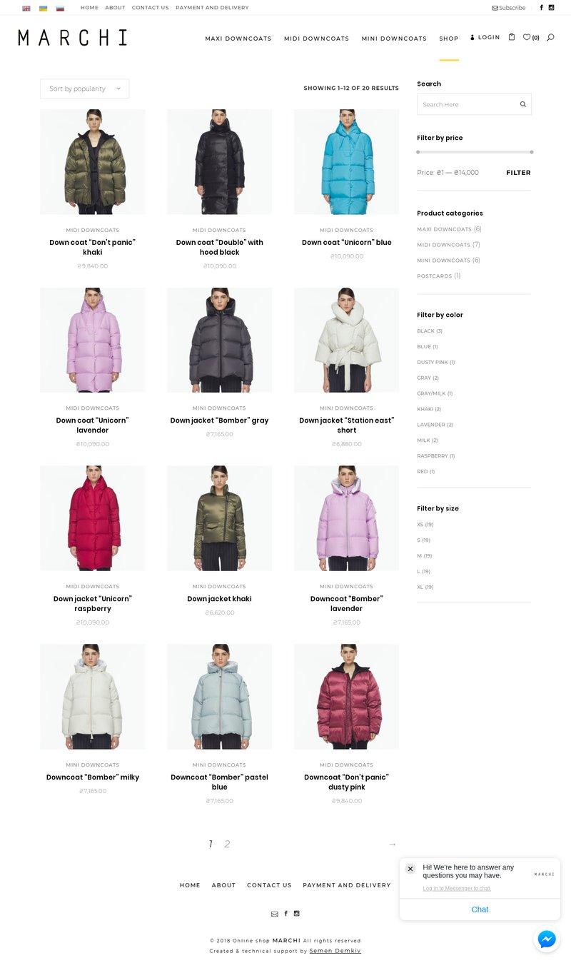 MARCHI online store – работа в портфолио фрилансера