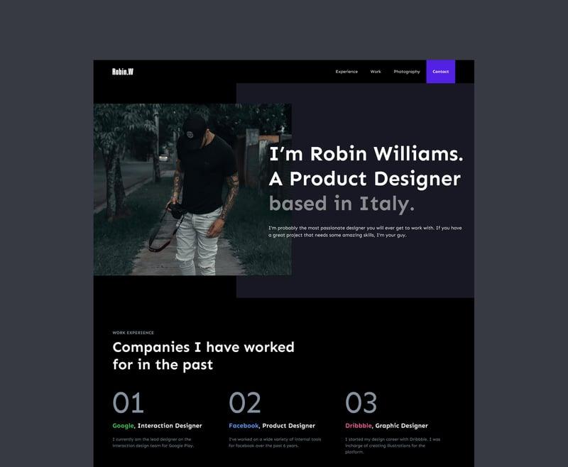 Robin Williams - сайт портфолио. – работа в портфолио фрилансера