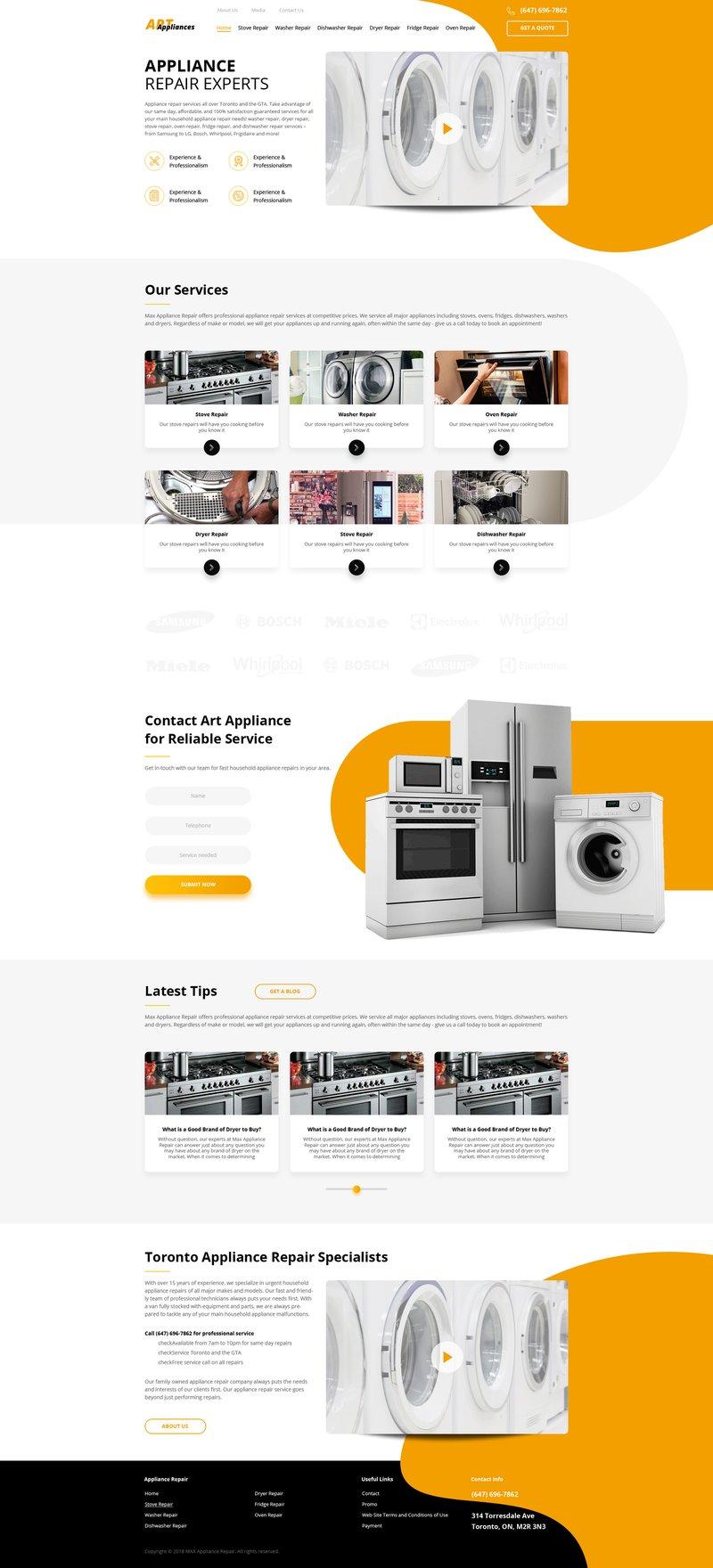 Макет сайта Appliance 2 – работа в портфолио фрилансера