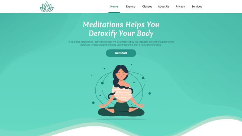 Верстка cайтa Meditation. – работа в портфолио фрилансера