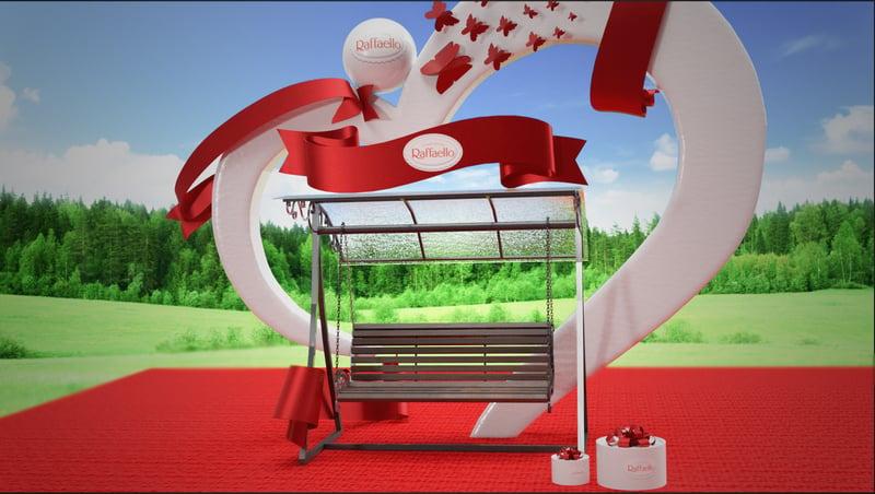 "3D фотозона для ""Raffaello"" – работа в портфолио фрилансера"