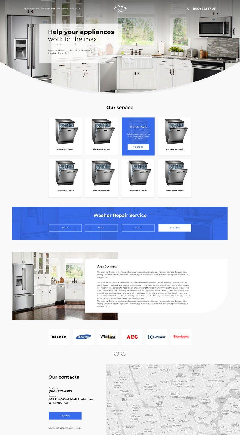 Макет сайта по обслуживанию техники – работа в портфолио фрилансера