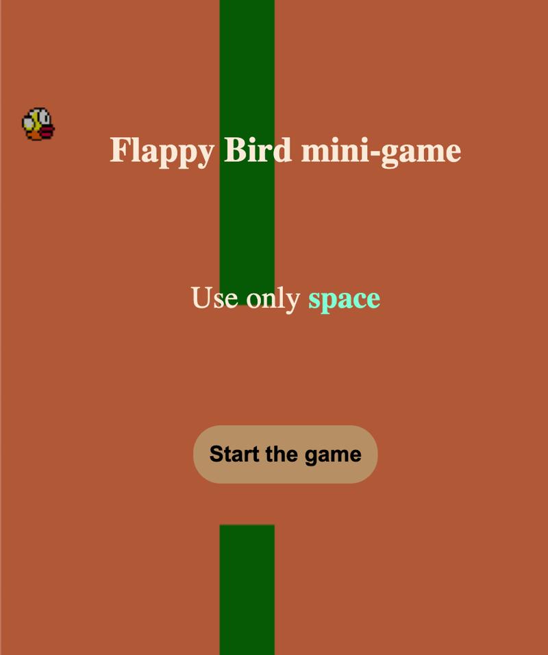 flappy bird mini game – work in freelancer's portfolio