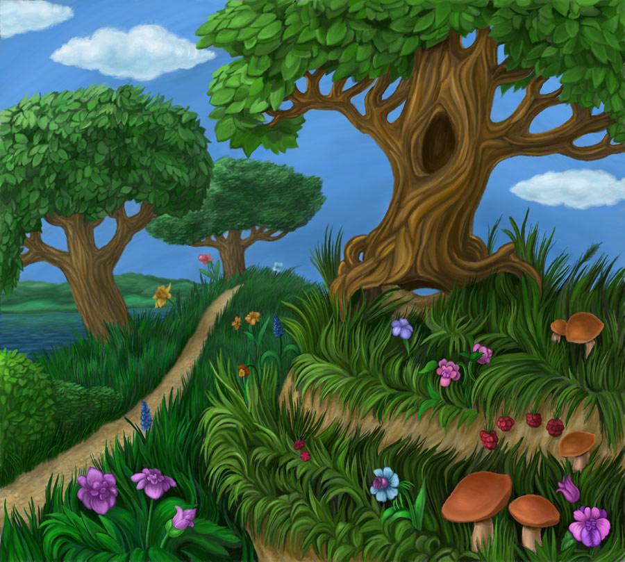 Лес картинка нарисованная для детей