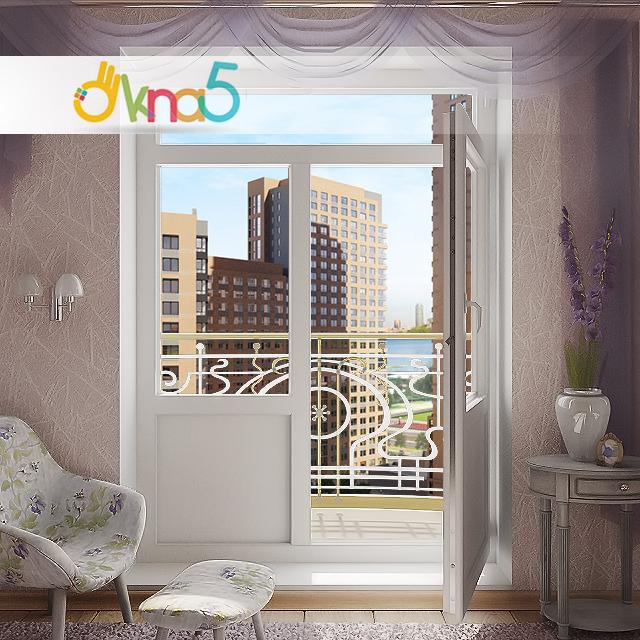 Двустворчатые балконные двери фото.