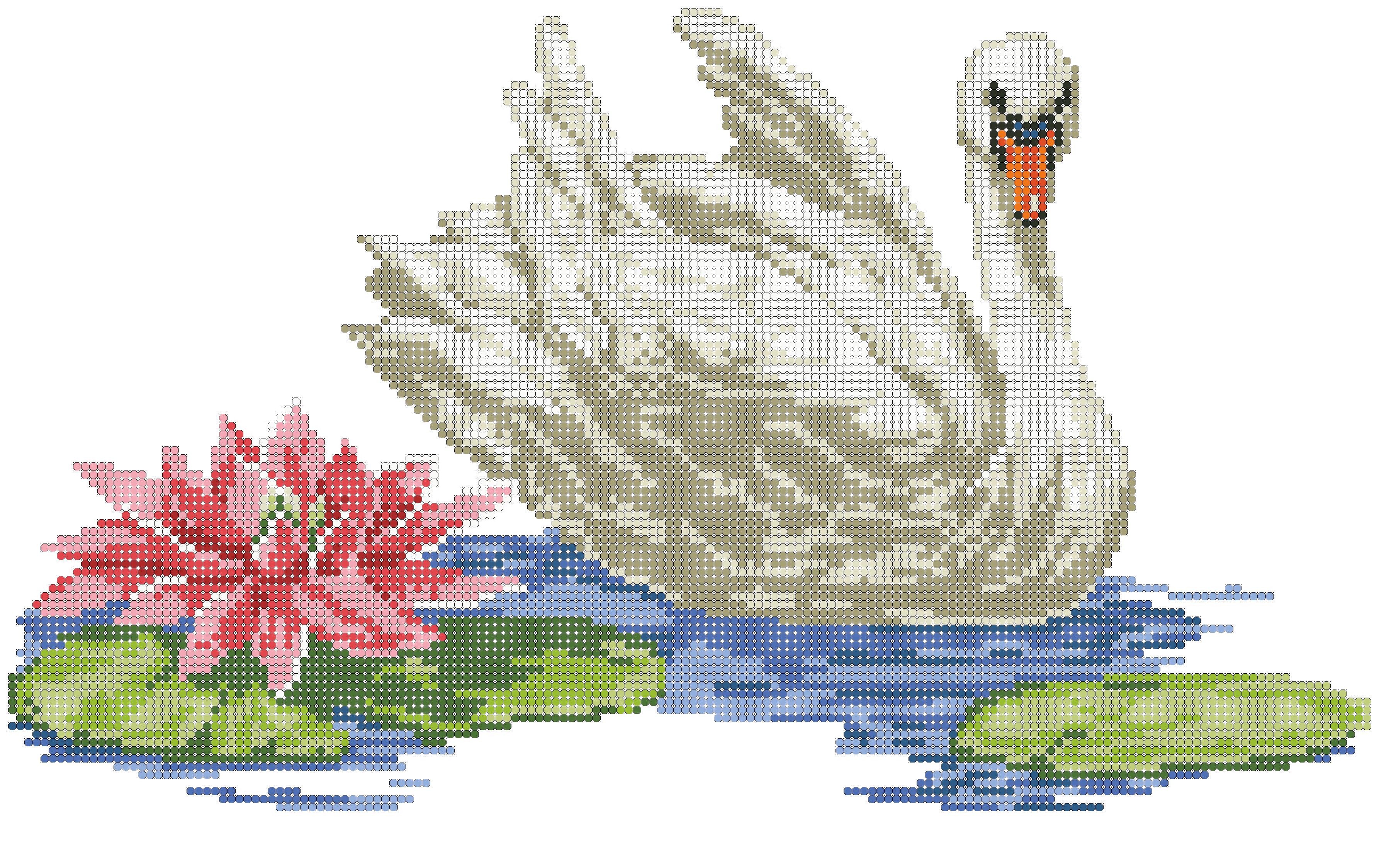 Схема для вышивки лебеди на пруду