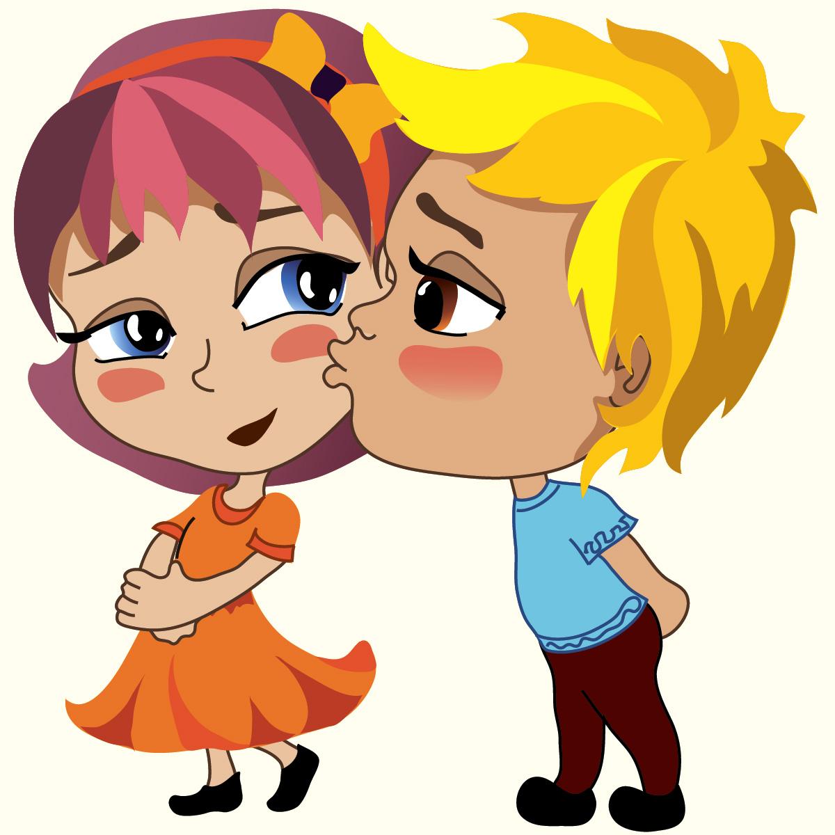 картинка поцелуй мультяшный