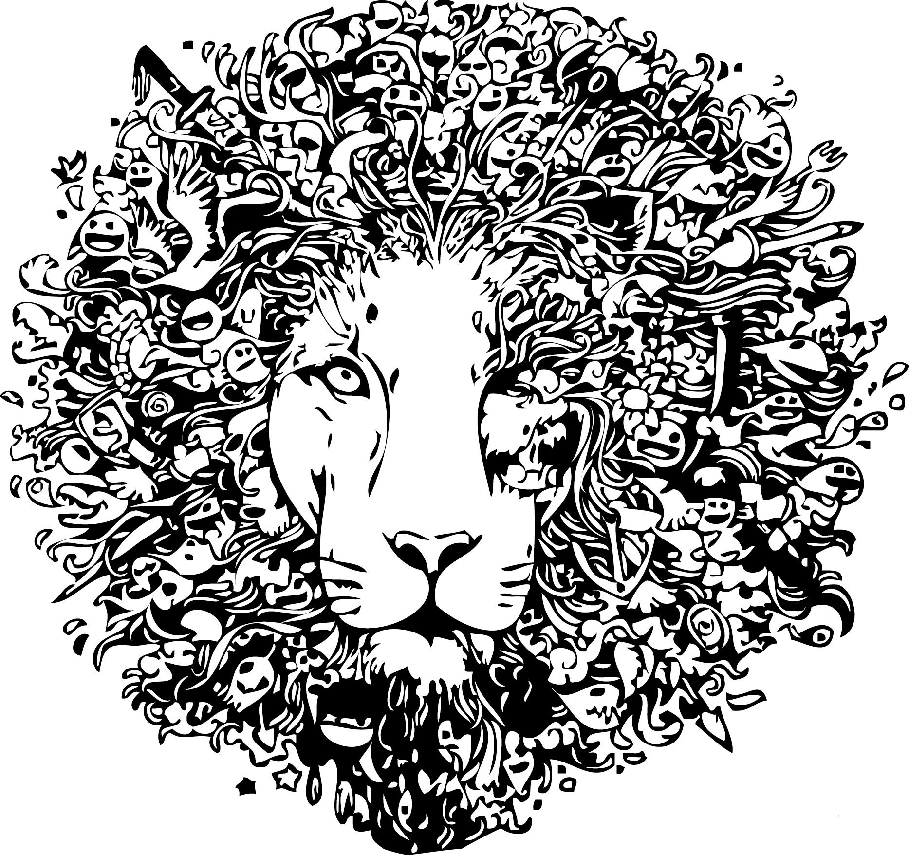 львы рисунки графика