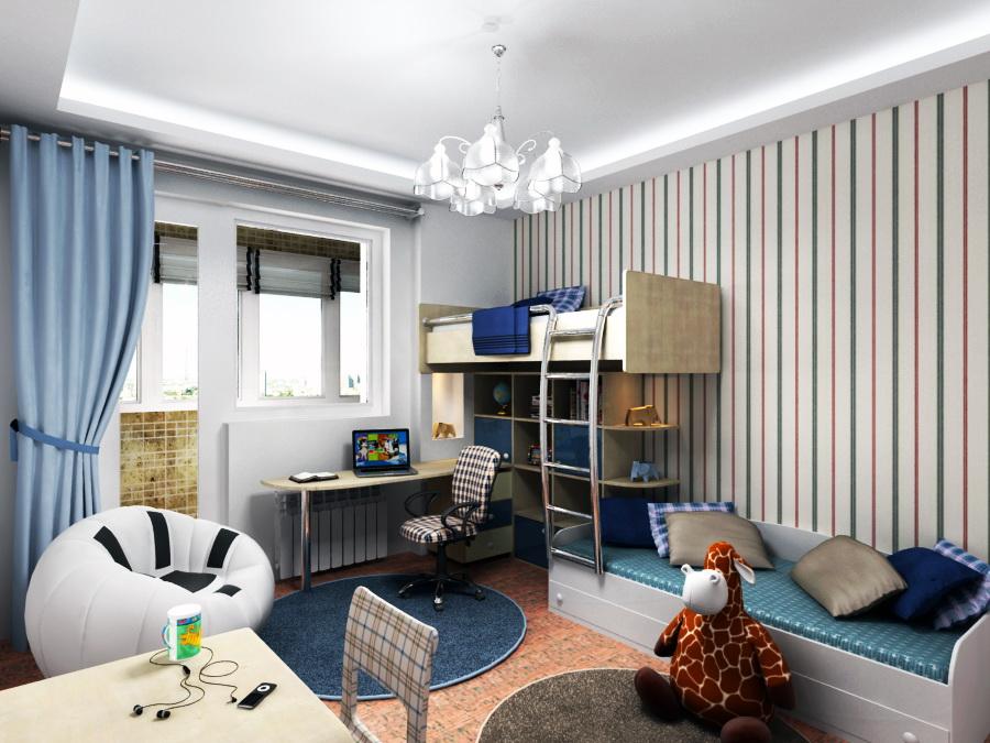 Дизайн комнаты для двоих 13 квм
