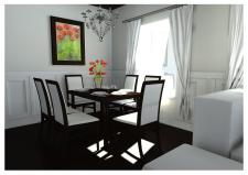 Интерьер гостинной с красными цветами