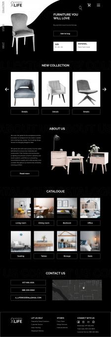 Дизайн головної сторінки інтернет магазину меблів