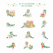 Set of illustrations for eco brand