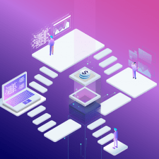 Isometric concept of people working with technolog