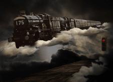 Небесный поезд (коллаж)