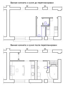 Схема перепланировки санузла и кухни.