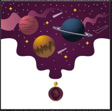 Иллюстрация космоса для упаковки духов