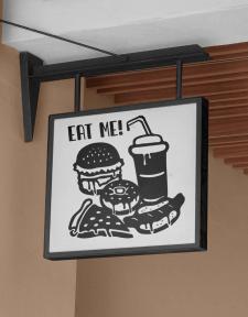 Вывеска для кафе быстрого питания. Вектор.