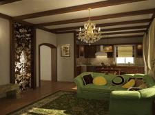 Проект гостиной в загородном доме
