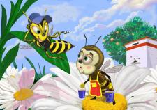 """Bee and wasp"" иллюстрация к детской книге"