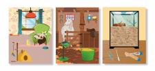 Серия иллюстраций для детской книги с наклейками