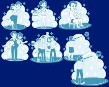 Иллюстрации в стиле телеграмм для настольной игры.