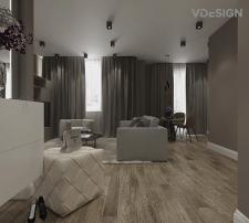 Визуализация гостиной квартиры 56 кв.м