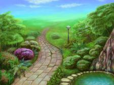 Волшебный сад утром