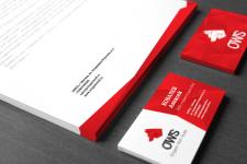 Визитки и бланк для дизайн-студии OWS