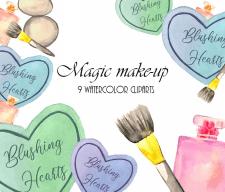 Набор акварельных клипартов по теме макияжа