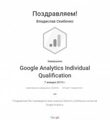Сертификат о прохождении курса Google Analytics