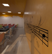 Illustrations on the walls of public interiors