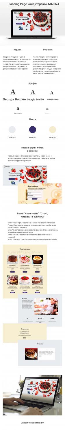 Landing Page кондитерской MALINA