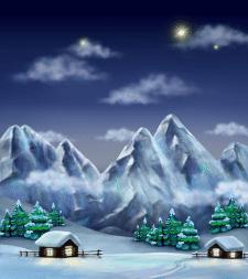 Фон для игры горы ночью, зима