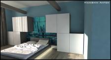 Квартира в стиле Loft (спальня, вариант 2))