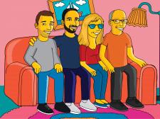 Портрет семьи в стиле Симпсонов