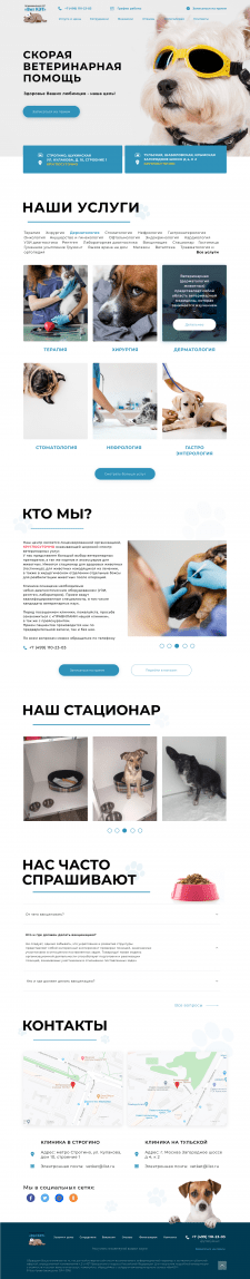 Редизайн гдавной страницы для вет.клиники
