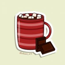 Hot chocolate vector sticker
