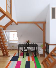Визуализация гостиной на мансарде